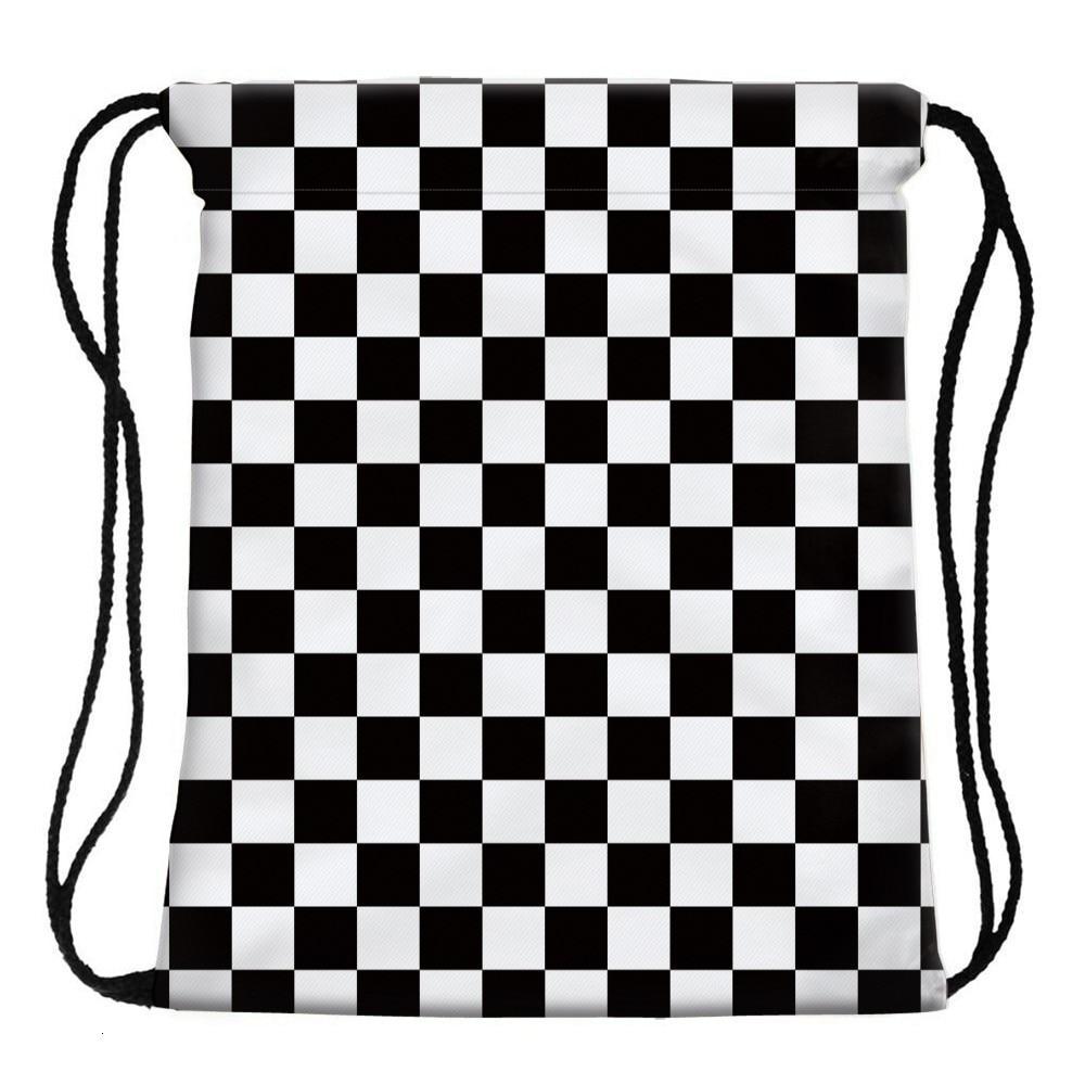 H3429574293d44c1ea145e788c2011f8aE Deanfun Women 3D Printing Drawstring Bag Black White Geometric Backpack Travel Softback Mens Backpacks 28316