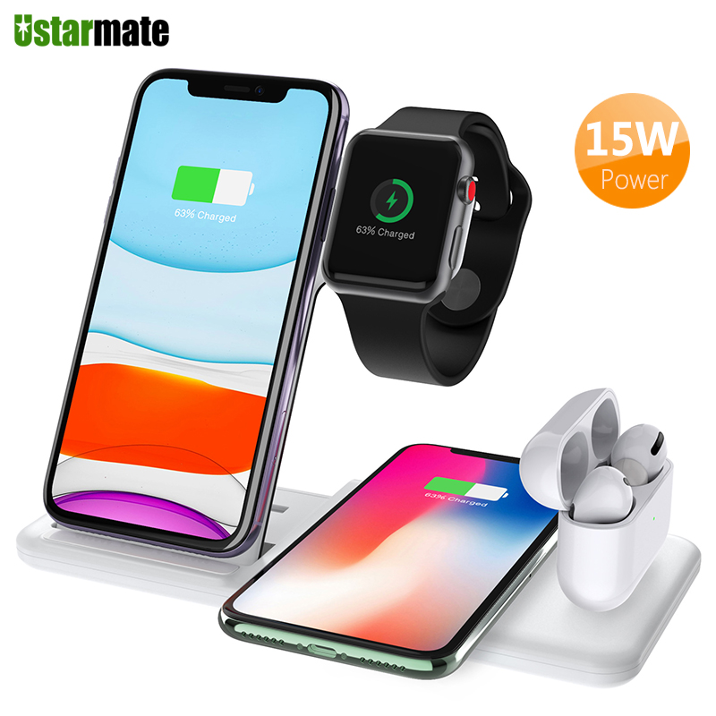 15W <font><b>Qi</b></font> Wireless Charger Dock Station 4 in 1 for Apple iPhone Airpods <font><b>Watch</b></font> 5 4 3 Fast Wireless Charging Adapter for Samsung S20 image