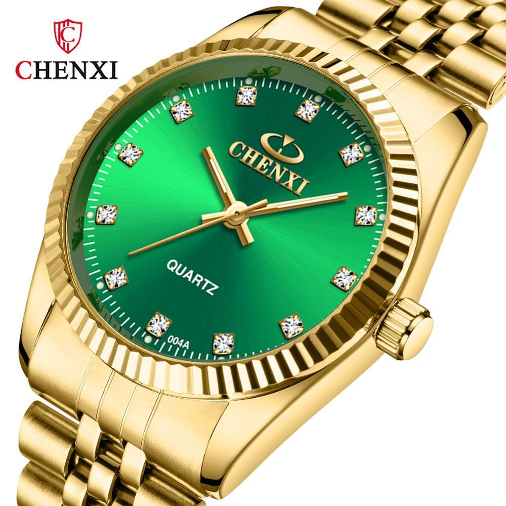 Chenxi Lover Watch Men Women Top Brand Luxury Gold Couple Watches Stainless Steel Band Quartz Watch Reloj De Numero Para Mujer