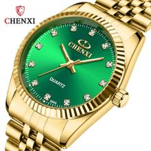 Chenxi Lover Watch Men Women Top Brand Luxury Gold Couple Watches Stainless Steel Band Quartz Reloj De Numero Para Mujer