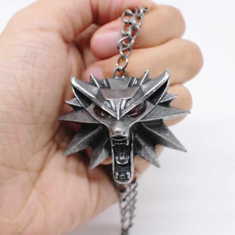Wizard 3 Liar Berburu Permainan Liontin Kalung Geralt Hewan Logam Link Rantai Serigala Kepala Kalung Uap 1 Tas 1 Kartu kualitas Asli