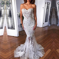 Gorgeous Lace Mermaid Wedding Dress Sexy Strapless Wedding Gowns Brush Train Sweetheart Appliques Bride Dresses Vestido de Noiva