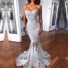 Gorgeous Lace Mermaid Wedding Dress Sexy Strapless Wedding Gowns Brush Train Sweetheart Appliques Bride Dresses Vestido de Noiva