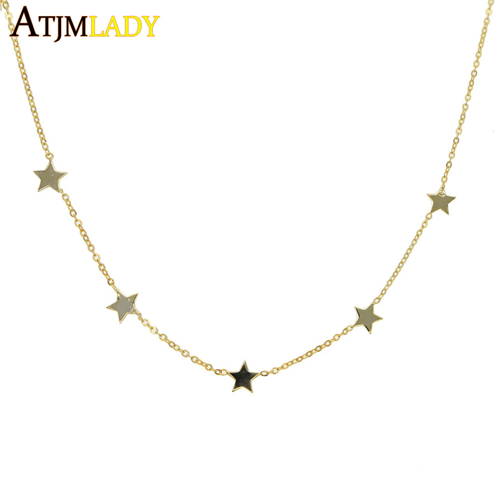 32+8cm gold color 925 sterling silver cute danity Star charm pendant necklace christmas gift delicate chain star necklace