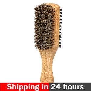 Image 1 - Cepillo de barba para hombre, doble cara, peine de afeitar, bigote, mango de madera maciza, tamaño opcional