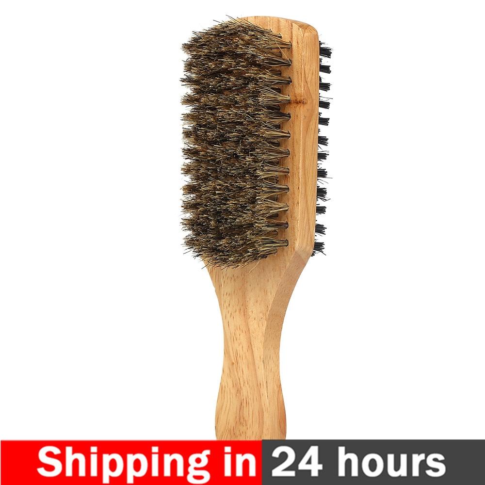 Men's Beard Brush Double-sided Facial Hair Brush Shaving Comb Male Mustache Brush Solid Wood Handle Optional Size Shaving Brush(China)