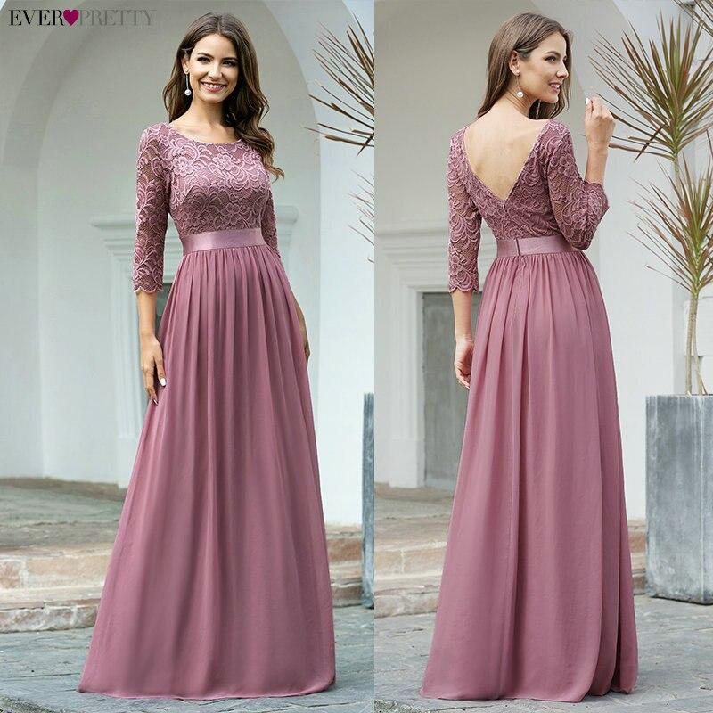 Elegant Lace Bridesmaid Dresses Ever Pretty EP07412 A-Line O-Neck 3/4 Sleeve Sexy Wedding Guest Dresses Vestido De Festa Longo