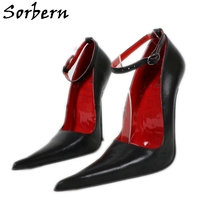 Women Pumps High-Heels Stilettos 16cm Sexy Sorbern Genuine-Leather Steel Party 14cm Night-Club