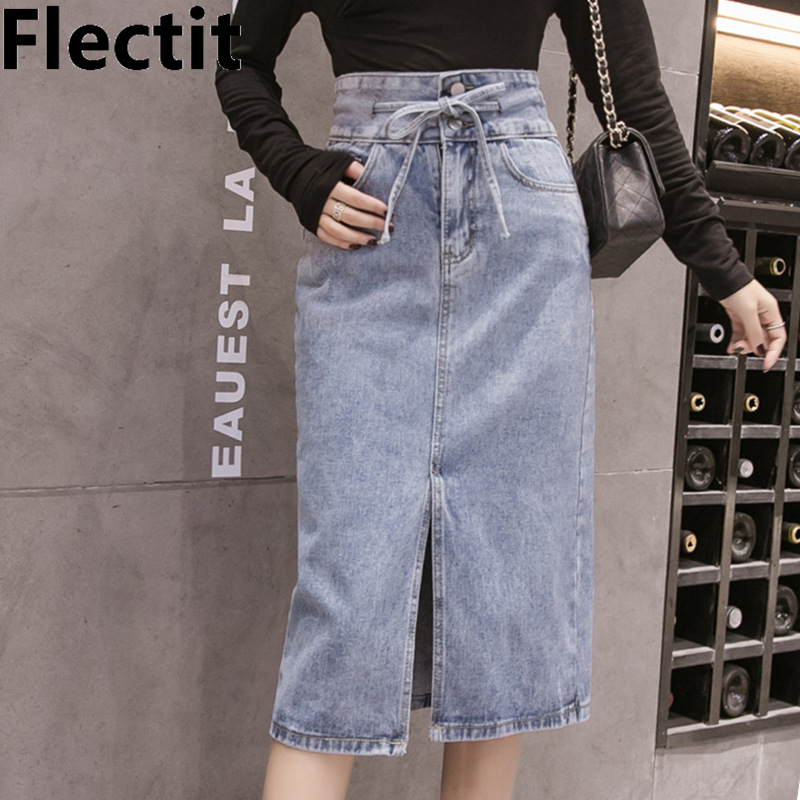 Flectit Casual Women Denim Long Skirt With Slit Tie Pocket Mid-Calf Length High Waist Pencil Jeans Skirt *