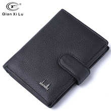цена на Brand Men wallets dollar price purse Genuine leather wallet card holder designer clutch business mini wallet high quality