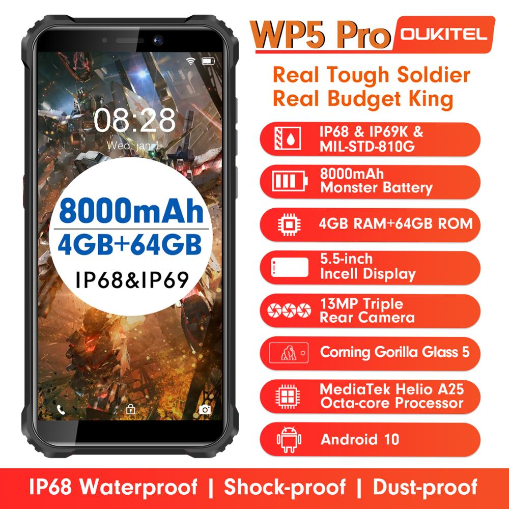 OUKITEL WP5 Pro 4GB 64GB 8000 мА/ч, IP68 Водонепроницаемый Смартфон Android 10 тройной Камера уход за кожей лица/функцией отпечатков пальцев (Fingerprint ID 5,5 дюймов м...