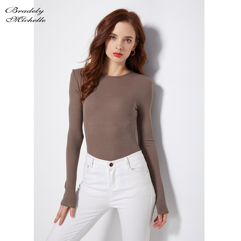 BRADELY MICHELLE 2019 Autumn Pure Cotton Sexy Women Slim Long-Sleeve O-neck Tops Bodysuits female rompers streetwear   Jumpsuits