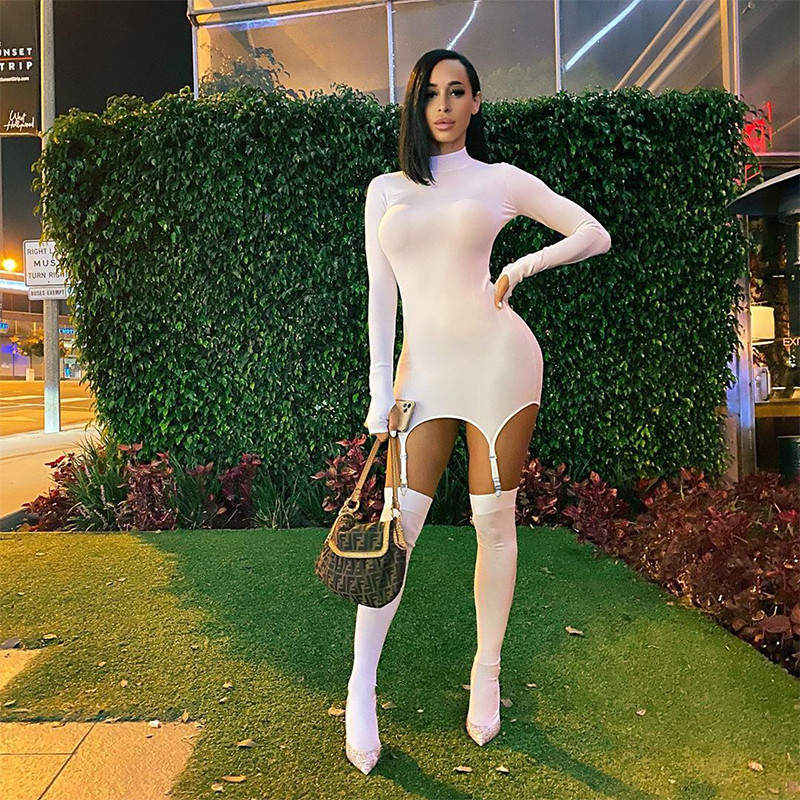 CHRONSTYLE 2020 Sexy Women Dress With Stockings Buckle Pacthwork Dress Club Streetwear Long Sleeve Solid Bodycon Pencil Dresses 7