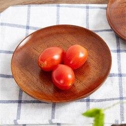 Drewniane okrągłe miski do przechowywania owoców taca talerze ciasto owocowe herbata kawa deser taca do serwowania potraw zastawa stołowa gadżety kuchenne