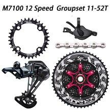 DEORE seis M7100 12 Velocidad bicicleta Grupo 11 50/52T ZRACE alfa Cassette + KMC X12 cadena + M7100 desviadores