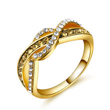 New Vintage Line Wrapped Ladies Ring Fashion Design Alloy Plated 14k Gold Crystal Engagement Ring Zircon Jewelry(China)