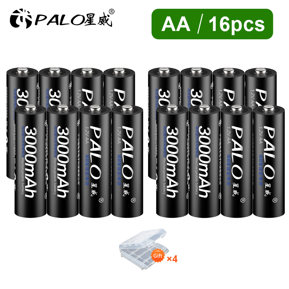 PALO 4-16Pcs Rechargeable battery aa 1.2v nimh Batteries Rechargeable Battery 2A batteria for Led flashlight battery Wholesale