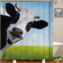 Black And White Cow Shower Curtain Animal Bathroom Curtain Green Grass Cortina Bano Tela Blue Sky Green Land Cow Bath Shower