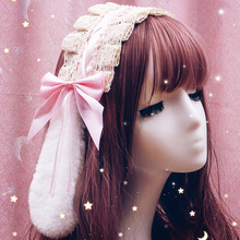 Japanese lolita hair accessories lace headdress sweet hair band Lolita Lace Headband Hair Band Bowknot Headwear cosplay costume