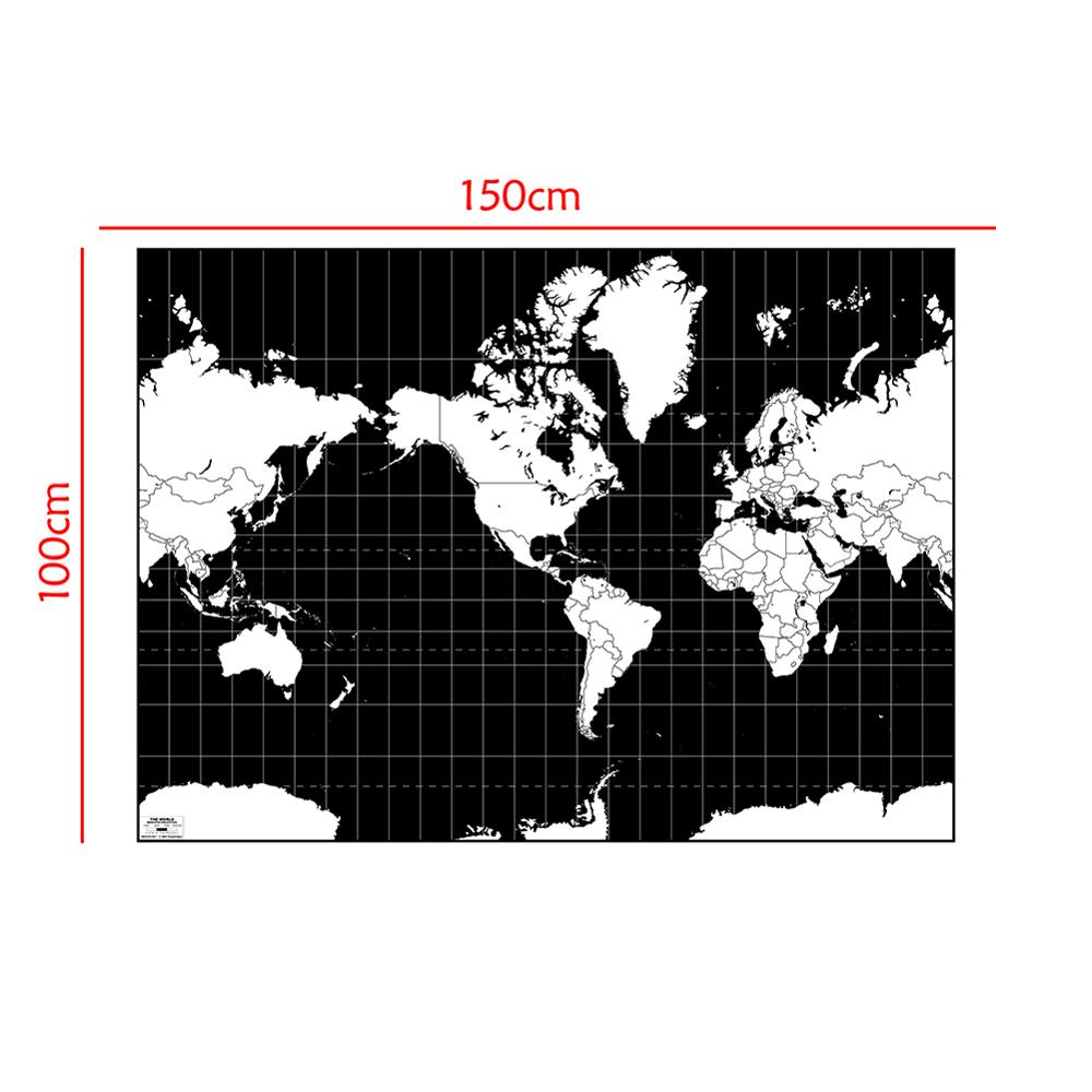 Mercator Projection World Map Aerial View Black And White Continental Plate Map 100x150cm Non-woven Map