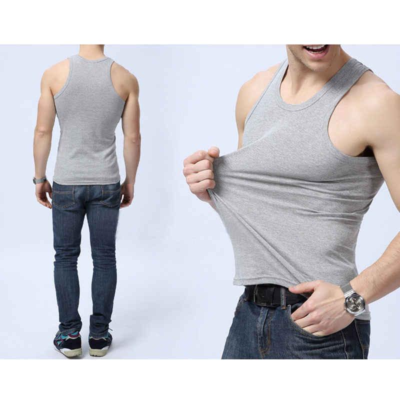 แฟชั่น PLUS ขนาดชาย Close-fitting Vest ฟิตเนสลำลอง O-Neck Breathable ผ้าฝ้าย Undershirts ชายถัง