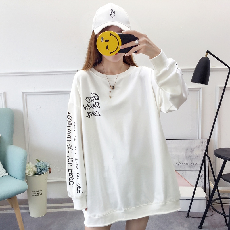 2019 autumn new Korean version of the XL T-shirt women's thin section long-sleeved loose hole wild T-shirt shirt women 76