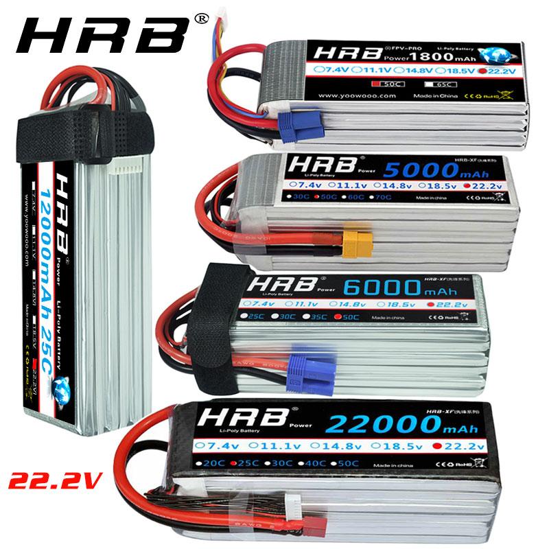 HRB 6S Lipo Battery 22.2v 5000mah 6000mah 4S 2200mah 3300mah 4200amh 12000mah 22000mah RC Lipo Dean For Rc Car Drones Helicopter