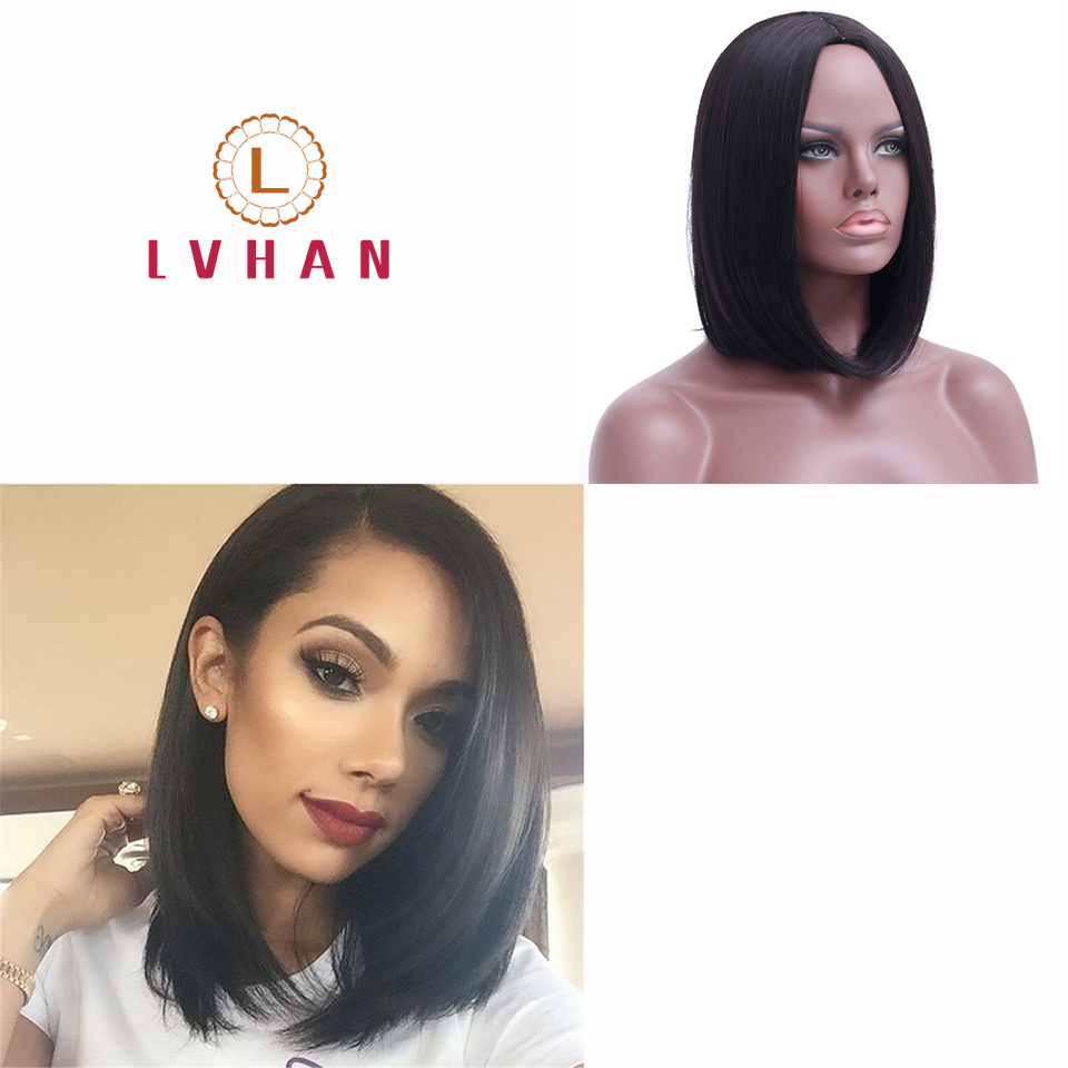 LVHAN Straight Synthetic Hair 12 Inches Wigs Black Ombre Wig Free Shipping