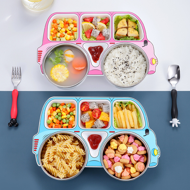 304 stainless steel children car meal plate baby complementary food bowl fork spoon compartment bowl three-piece gift box