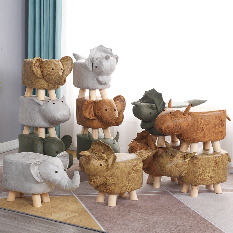Children's Animals Change Shoes Stool Fashion Creative Small Stool Domestic Footstool Calf Cartoon Low Stool Solid Wood Sofa|  - title=