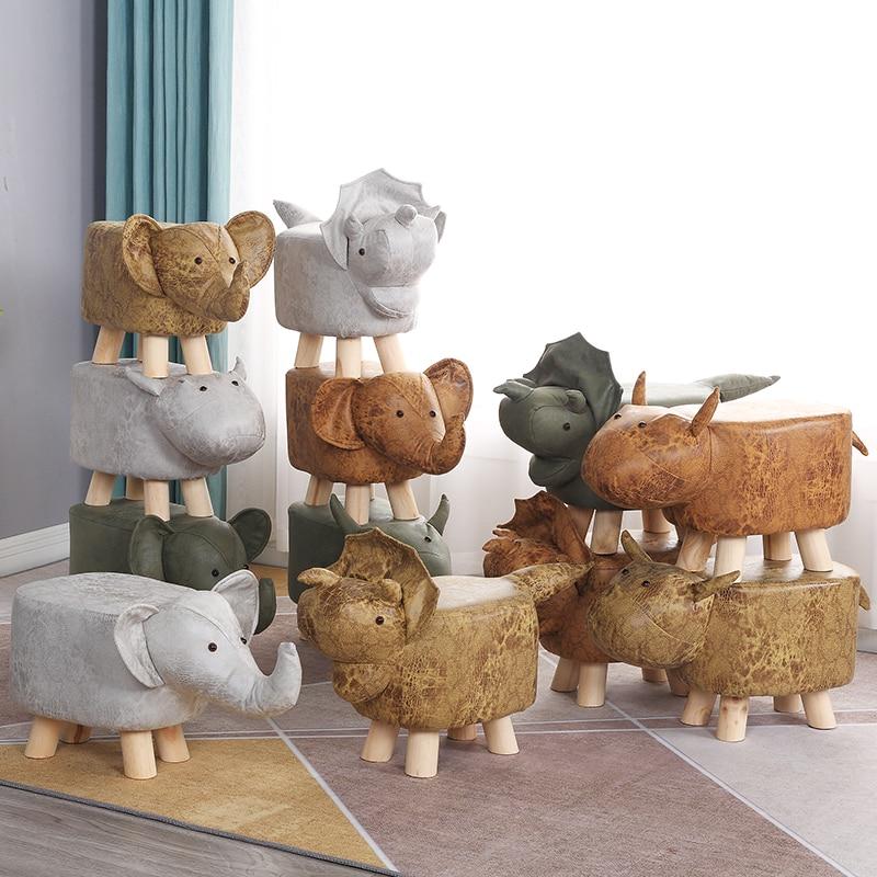 Children's Animals Change Shoes Stool Fashion Creative Small Stool Domestic Footstool Calf Cartoon Low Stool Solid Wood Sofa