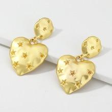 Vintage de metal de moda pendientes de corazón de durazno estrella impresa pendientes oorbellen perchas pendientes de oro para las mujeres joyería de moda