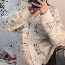 2019 Autumn Sweater New Women Plaid Rabbit Fur Imitation Gold Mink Mixed Color Line Irregular V-Neck Cardigans