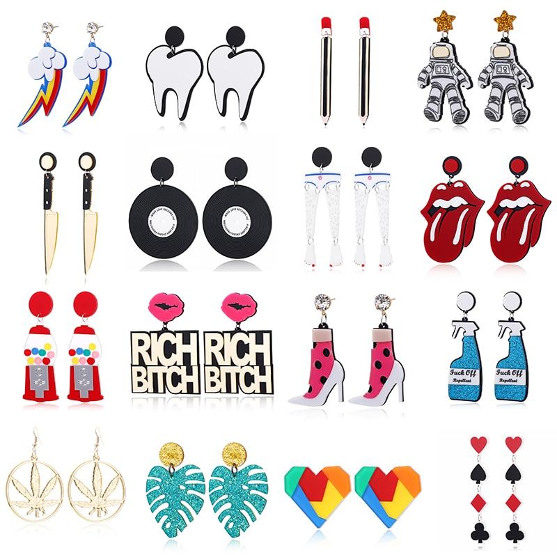 YAOLOGE Acrylic Cute Big Drop Earrings Astronaut Food Tassel Jellyfish Octopus Pearl Earrings For Women Trendy Jewelry Party
