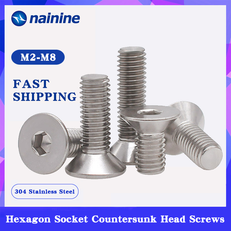 DIN7991 ISO10642 JISB1194 M2-M12 304 Stainless Steel Hexagonal Countersunk Screws Flat Head Screw HW017