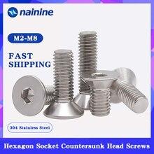 Din7991 [M2-M12] 304 parafusos escareados sextavados de aço inoxidável parafuso de cabeça chave allen plana a017