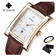 Top Brand WWOOR Men Watch Square Quartz Waterproof Ultra-thin Man Business Leather Wrist Watches for Relogio Masculino