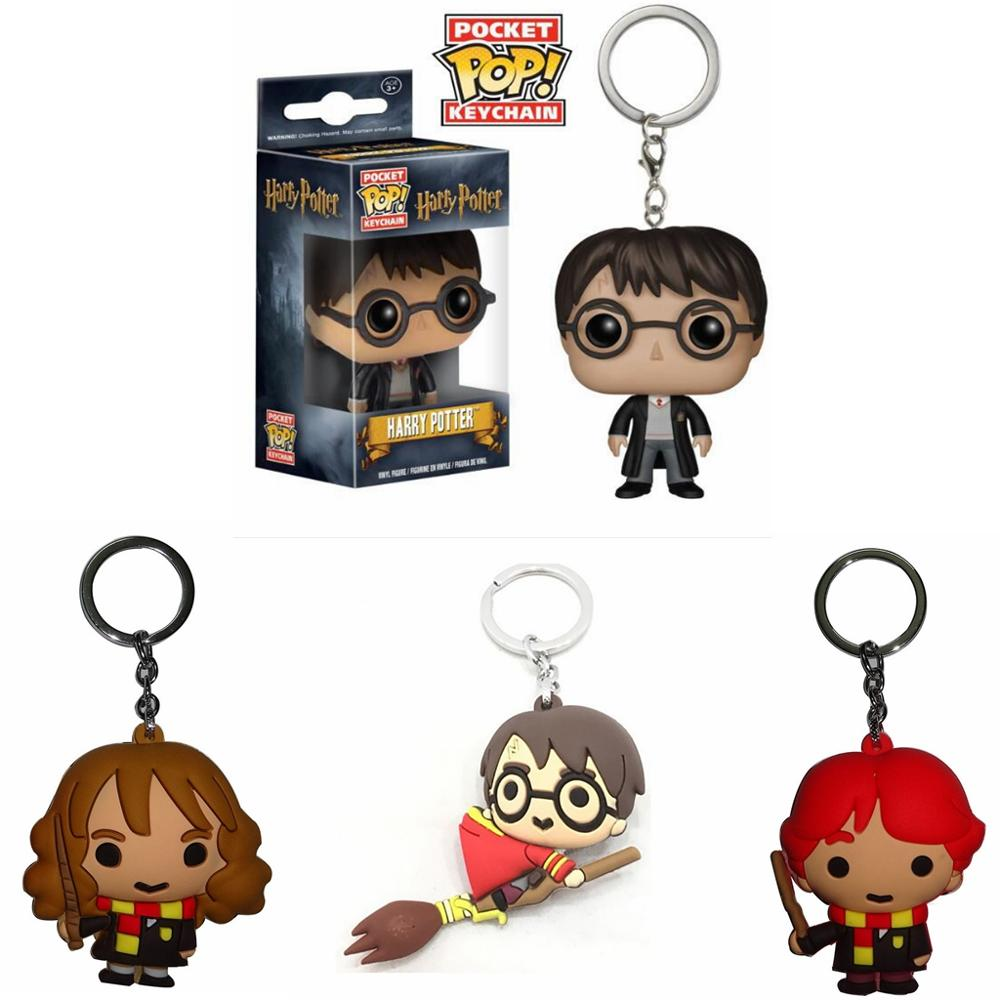 Harri Potter Q Version Keyring Hermione Ron Dobby Voldemort Keychain Soft PVC Pendant Key Chain Action Figure Toys