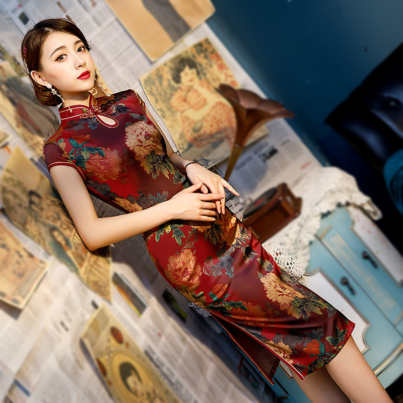Sheng Coco Novelty Red Retro Cheongsam Sexy Chinese Vintage Water Droplets Collar Short Qipao Women Oriental Style Party Dresses
