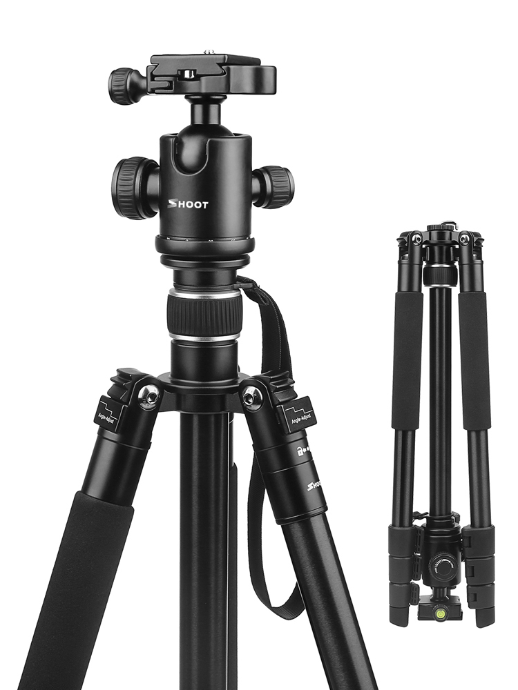 SHOOT Tripod Travel-Camera DSLR Professional Nikon Canon Aluminum-Alloy 4-Sections Portable