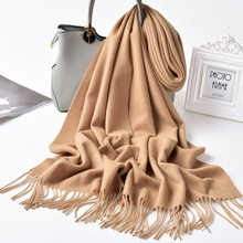 Women Winter 100% Cashmere Scarf Solid Echarpe 2019 Brand Pashmina Wraps with Tassel Warm Foulard Femme Pure Scarves