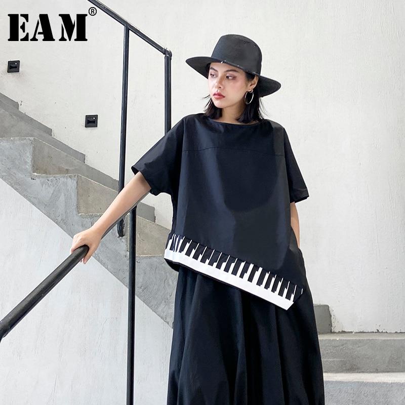 [EAM] Women Black Striped Asymmetrical Big Size T-shirt New Round Neck Half Sleeve  Fashion Tide  Spring Summer 2020 1T780