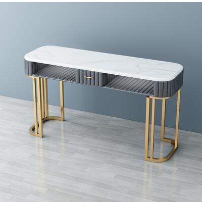 Чистый красный мраморный Маникюрный Стол И Набор стульев, одиночный двойной золотой железный двухэтажный Маникюрный Стол, простой и роскошный светильник - Цвет: 140CM