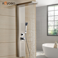 ROVOGO Stainless Steel Shower Panel Tower System, Rainfall Waterfall Shower Faucet Rain Massage System with Body Jets, Brushed