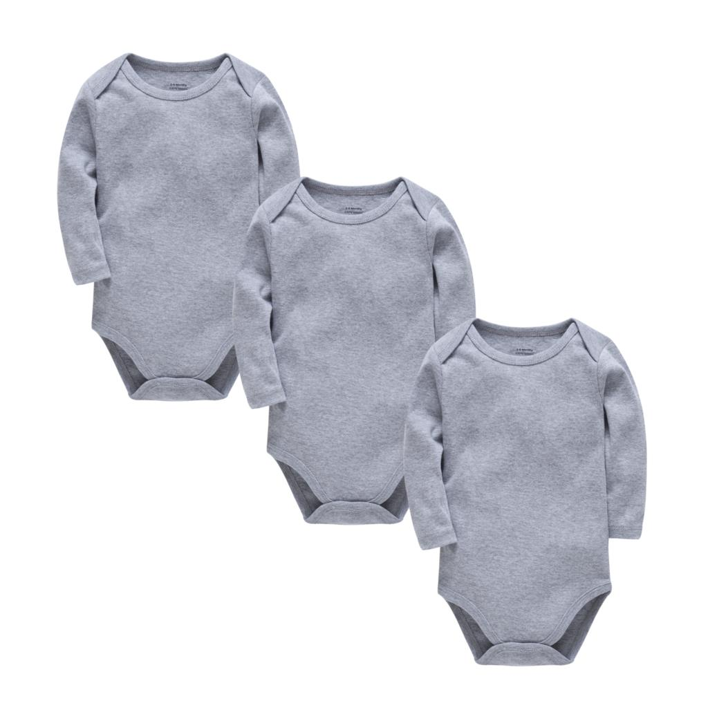 Kavkas Solid Color Chrtismas Baby Bodysuits Warm Grey Color Girl Boy 3pcs/Lot Pajamas Full Sleeve 0-24months Bebes