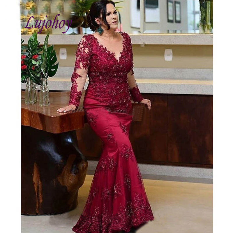 Long Sleeve Lace Mother Of The Bride Dresses Mermaid Plus Size For Weddings Godmother Groom Dinner Dresses Gowns