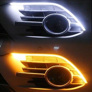 OKEEN 2x 車 SUV LED スイッチバック 60 センチメートルヘッドライトシーケンシャル Drl のライトストリップ白アイスブルー黄色ターンシグナルライト用トラック Atv