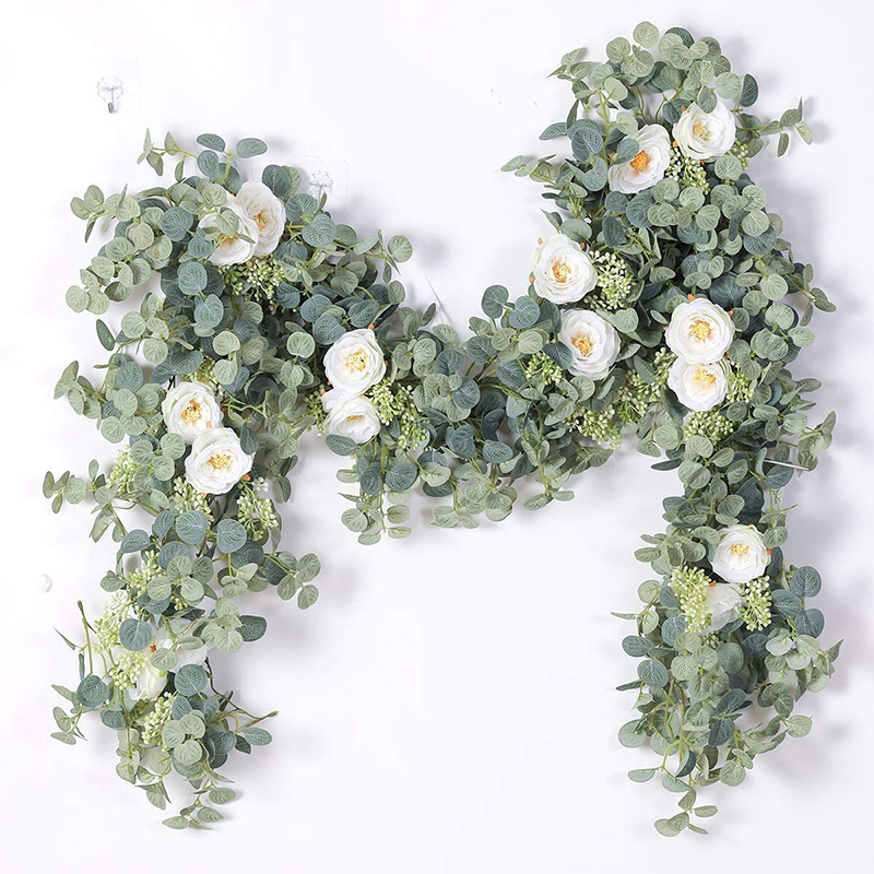 6.2FT Artificial Plant Flowers Eucalyptus Garland With White Roses Greenery Leaves For Wedding Backdrop Party Wall Table Decor
