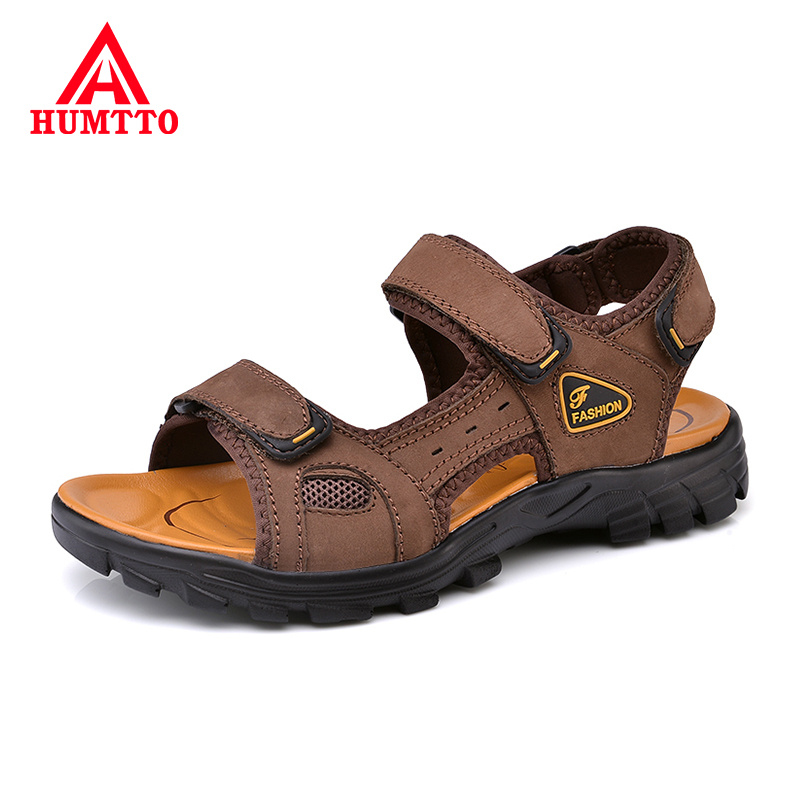Buy Fashion Summer Men Sandals Comfortable Breathable Leather Mens Shoes Luxury Brand Outdoor Male Beach Sandals Big Size 38-46