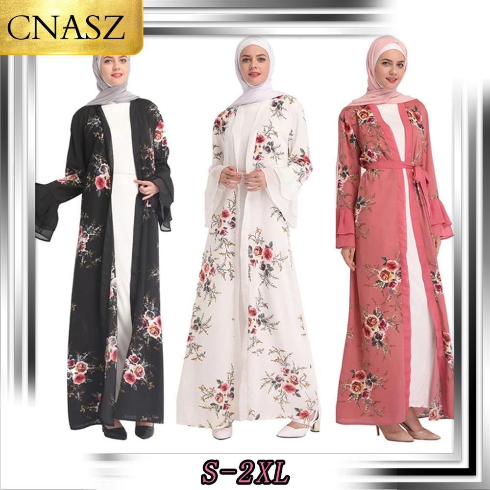 New Muslim Abaya Kaftan Elegant Fashion Dubai Turkey Digital Print Women Islamic Maxi  Middle Eastern Marocain Cardigan Robes